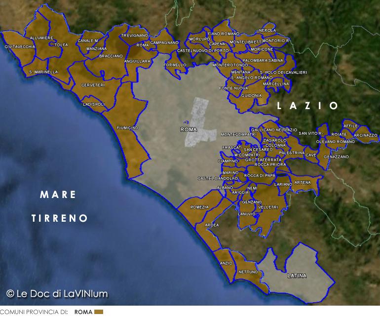 Cartina Roma Ciampino.Cartina Dettagliata Vino Doc Roma Lavinium