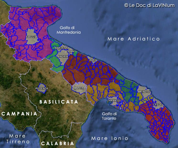 Cartina Vini Puglia.Mappa Vini Doc E Docg Della Puglia Lavinium