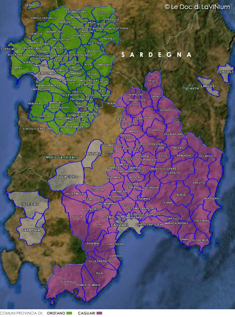 Sardegna Cartina Province.Le Doc Della Sardegna Giro Di Cagliari Lavinium