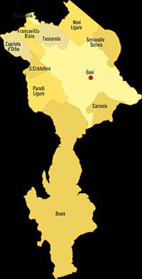 Il territorio con gli 11 comuni della Docg
