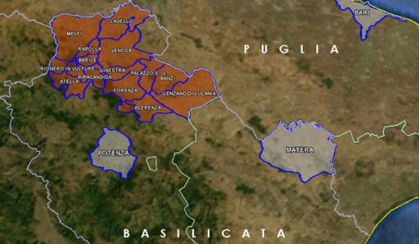 Mappa Docg Aglianico del Vulture Superiore