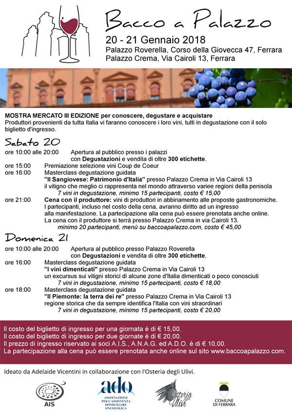 Locandina Bacco a Palazzo 2018