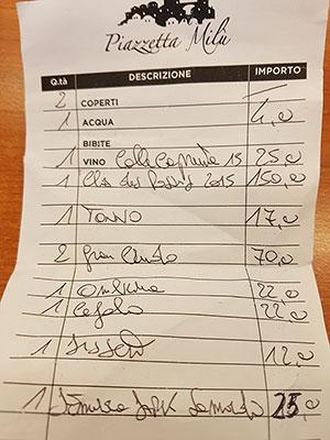 Scontrino ristorante Piazzetta Milù