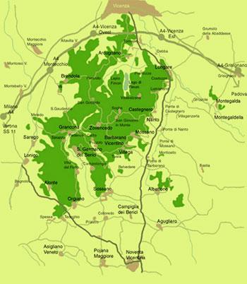 mappa dei Colli Berici