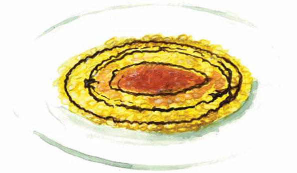 Risotto allo zafferano di Mornico, midollo e gocce di Montebore di Mongiardino con Bianco Etichetta Blu 2007 Riluce