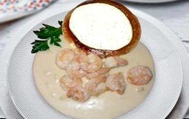 Gamberi con porcini al tartufo e Friuli Colli Orientali Bianco