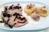 Arista al forno con funghi chiodini, patate, porri, speck e Collio Merlot