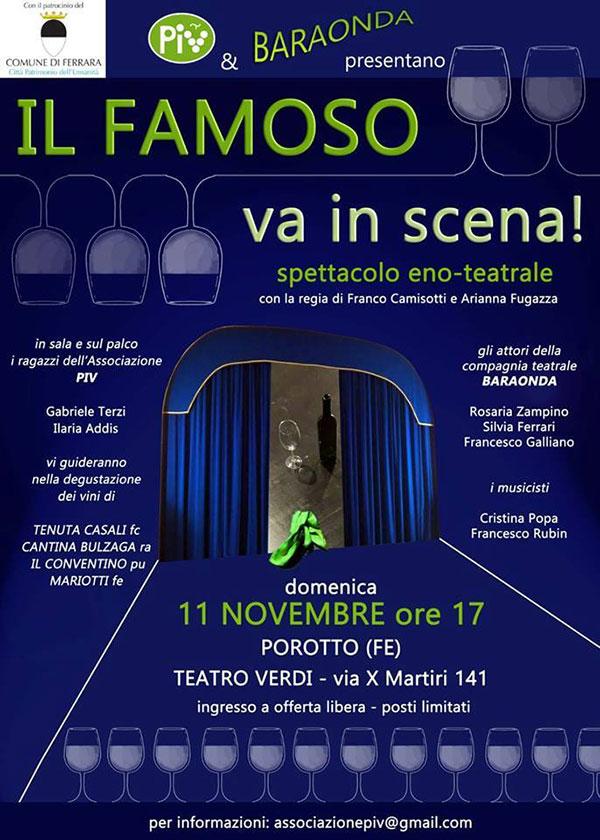 Locandina evento eno-teatrale Il Famoso va in Scena
