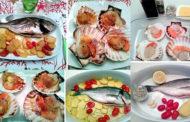 Orata con patate ai pomodorini, capesante all'angostura e Pas Dosé Blanc de Blanc del Collio