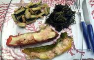 Cena di verdure con agretti, peperoni e zucchine con Greco di Tufo