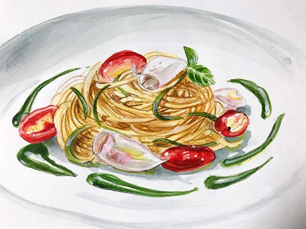 Mina Carpi, spaghetti con granceola