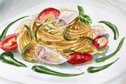 Spaghetti con granceola e salsa al basilico con Derthona Sterpi 2017