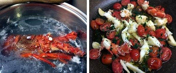 preparazione Spaghettini all'aragosta e pomodorini