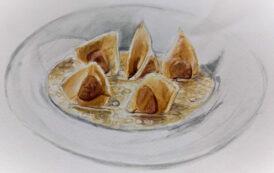 Fagottini di foie gras intero in brodo di petto d'oca affumicato e Buttafuoco