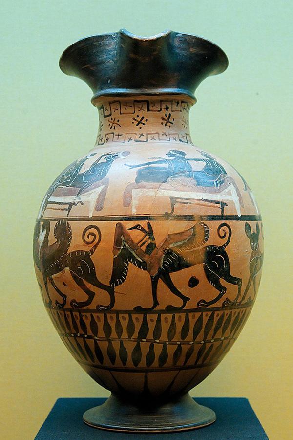 Oinochoe greco con scene di simposio. Marie Lan Nguyen - Wikimedia Commons