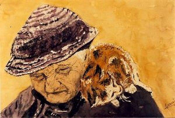 vecchia con gatto